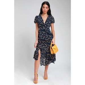 Lulu's Petals and Poetry Floral Ruffle Midi Dress